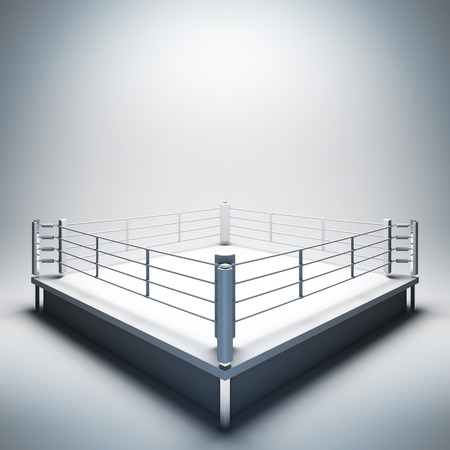 boxing match: 3d render illustration blank template layout of empty white boxing ring. Empty copy space to place your text, object, logo or photo boxers.