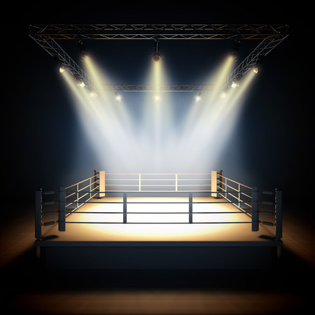 ring light: A 3d render illustration of empty professional boxing ring with illumination by spotlights.