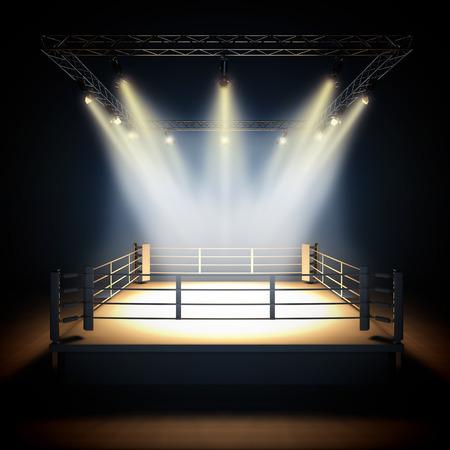 pelea: Un 3d hacer ilustración de ring de boxeo profesional de vacío con iluminación por focos. Foto de archivo