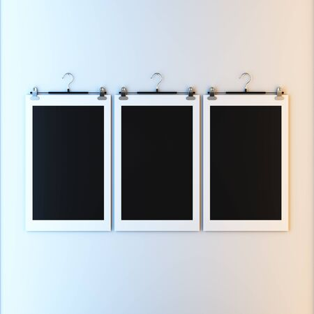 paper hanger: 3d render illustration blank template layout of empty paper frame on hanger clips. Paint surface empty to place your photo, image, picture, text or logo.