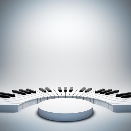 Eine 3D-Darstellung der leeren Vorlage Layout leeren weißen Jazz oder klassische Musik der Bühne. Bühne auf Plakat ist leer, um Ihren Text, Logo oder Objekt. Standard-Bild - 36358098