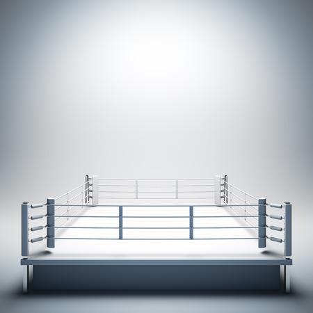 白い空のボクシングのリングの 3 d レンダリング図空白テンプレート レイアウトテキスト、オブジェクト、ロゴや写真のボクサーを配置する空のコ 写真素材