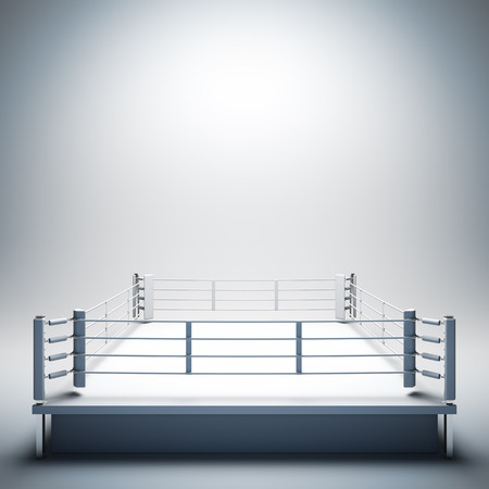 fight arena: 3d render illustration blank template layout of empty white boxing ring. Empty copy space to place your text, object, logo or photo boxers.
