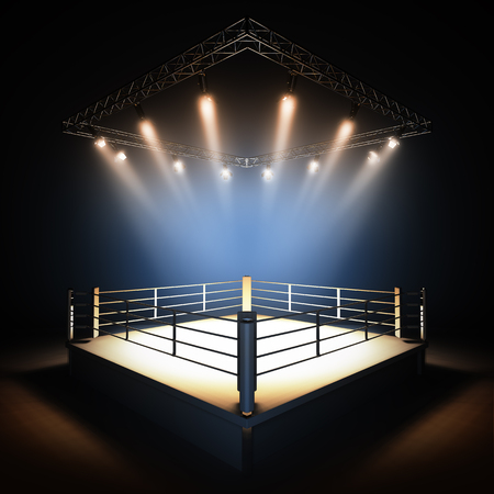 spotlight: A 3d render illustration of empty professional boxing ring with illumination by spotlights.