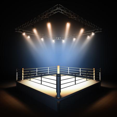 boxeador: Un 3d hacer ilustración de ring de boxeo profesional de vacío con iluminación por focos. Foto de archivo