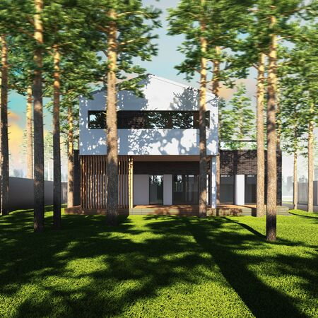 contemporary house: A 3d render illustration of contemporary minimalist house placed between pines.