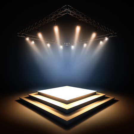 podium: 3d render illustration blank template layout of empty stage illuminated by spotlights. Empty copy space to place your text, object