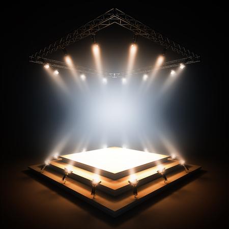 3d render illustratie lege sjabloon lay-out van lege scène verlicht door schijnwerpers. Lege kopie ruimte voor uw tekst, object, of logo.