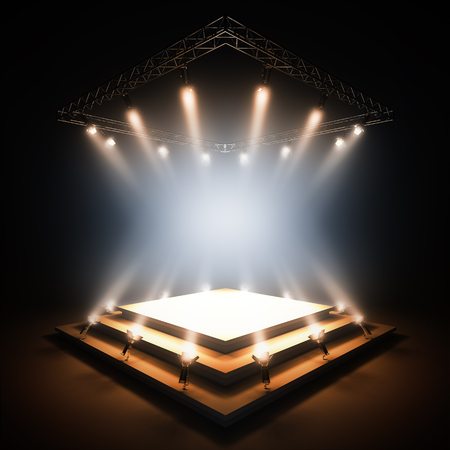 nightclub: 3d render illustration blank template layout of empty stage illuminated by spotlights. Empty copy space to place your text, object, or logo.
