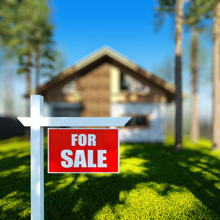 home for sale sign: A 3D render illustration of Home For Sale sign in front of new chalet house. Stock Photo