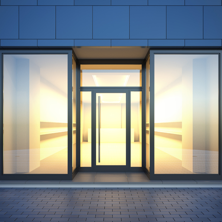 A 3d render illustration blank template layout of empty store facade with light interior from glass shop windows. Storefront surface empty to place your text, banner, placard, advertising or logo.