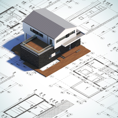 exhibitions: A 3d render illustration background of drawings and layout contemporary minimalist house. Stock Photo