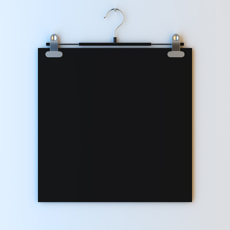 empty frame: 3d render illustration mockup of empty paper frame on hanger clips. Paint surface empty to place your photo, image, picture, Stock Photo