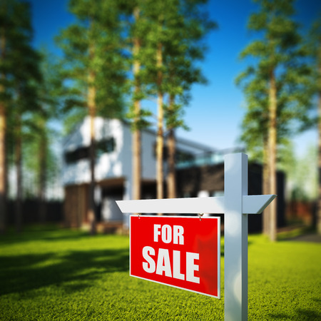 home for sale sign: A 3D render illustration of Home For Sale sign in front of new modern house.
