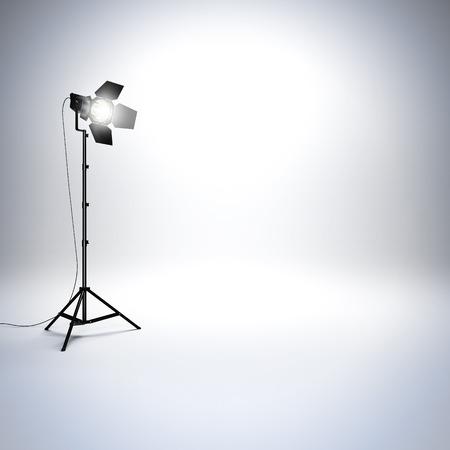 A 3d render illustration of white empty photo studio with professional flashlight. Free space empty to place your object,