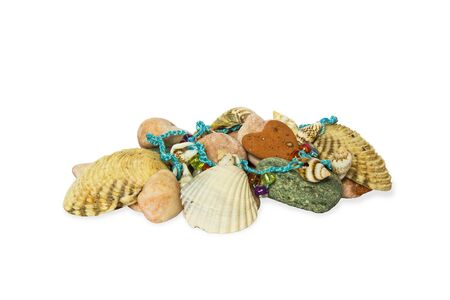 Isolated sea shells and stones, chaplet on white Stock Photo - 13993053