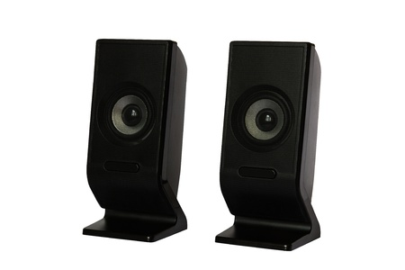Black two computer speaker isolated on white background photo
