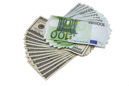 100 dollar and euro banknotes, isolated on white background photo