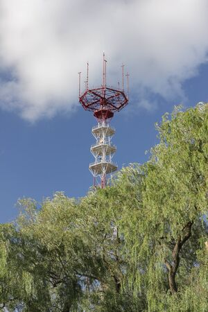 Telecommunication mast with microwave link and TV transmitter antennas behind trees over a blue sky Stock Photo - 15149425