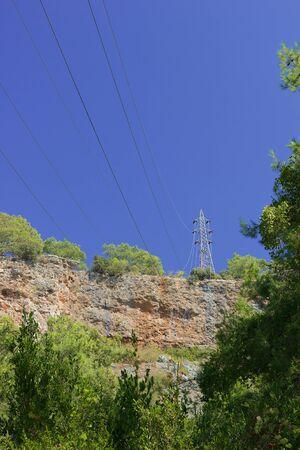 High-voltage power line in mountains of Turkey photo