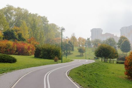 Bicycle lane in city park, on colourful trees background  photo