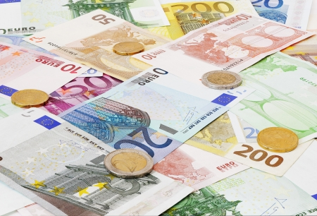 Euro money, coins and banknotes background  photo