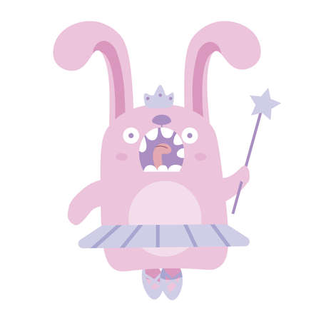 Pink fairy bunny in ballet tutu, crown, magic wand and pointes.