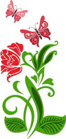 flit: Red stylized flower on a white background Illustration