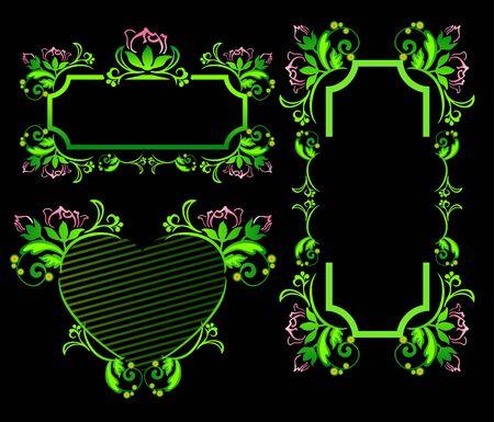 pastiche: Floral frame on a black background Illustration