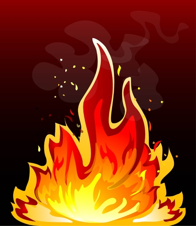 Fire flame against a dark background Stock Vector - 13416057