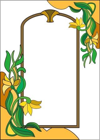 vetrate artistiche: La cornice dei colori nel colorato stile su uno sfondo bianco Vettoriali