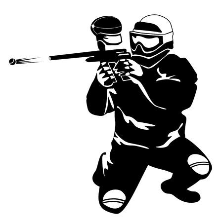 オープンエア: 白い背景の上の武器を持つ男のシルエット