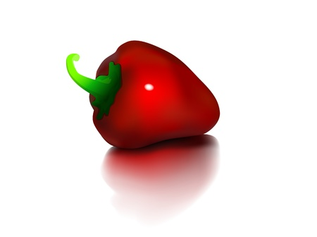 basis: Red Bulgarian pepper with a green basis on a white background Illustration