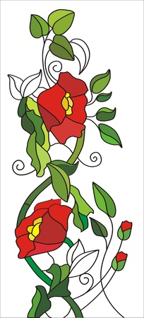 Floral designs with poppies on a white background Vector