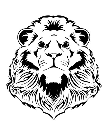 undomesticated animals: lion head on a white background Illustration