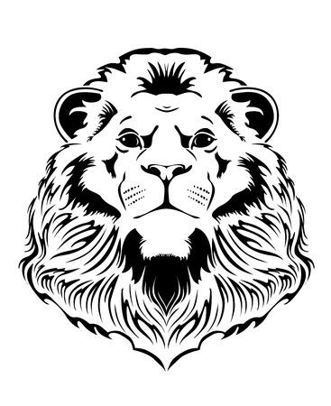 lion head on a white background Ilustração