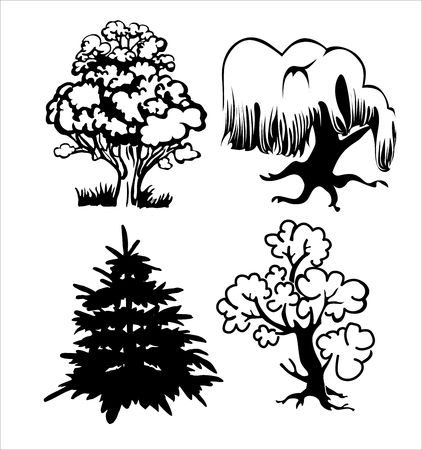Four silhouettes of trees on a white background