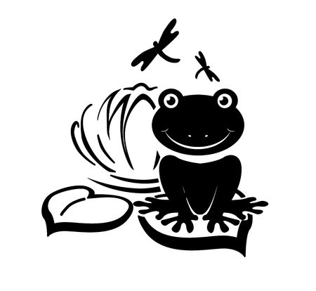anura: Silhouette of a frog on a lily pad Illustration