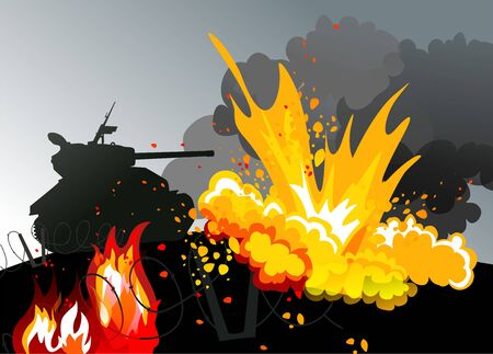 persuasion: The tank on the background of the explosion Illustration