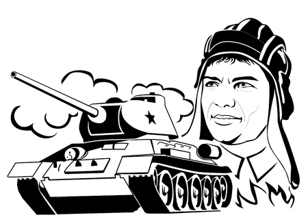 Head of a military man with a tank in the form of a silhouette on a white background.