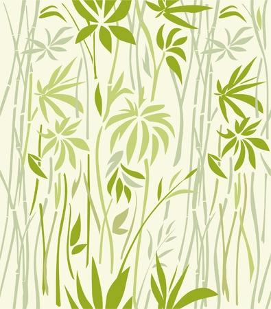 Bamboo leaves and branches seamless pattern. Illusztráció