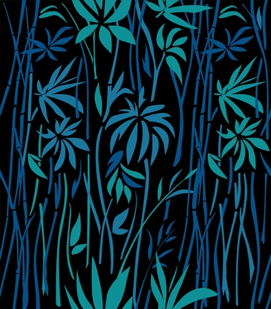 Pattern of bamboo thickets of green leaves and blue branches on a black background