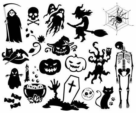 Silhouettes of graphic elements for a holiday of halloween Foto de archivo - 133519068