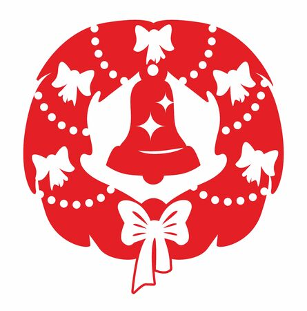 Red christmas wreath and bell Ilustrace