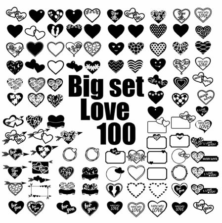 100 silhouettes of hearts on a white background