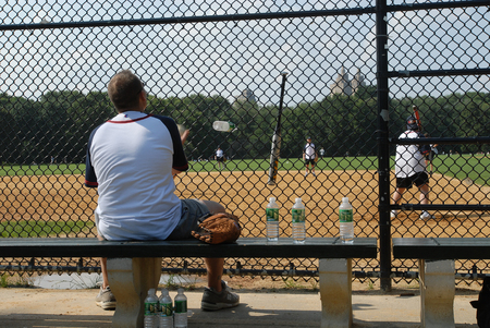 freetime: Some guys are playing baseball in there freetime Stock Photo