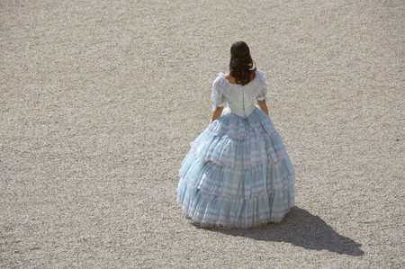 the monarchy: a young female dressed like the austrian Empress Elisabeth in fine monarchy syle