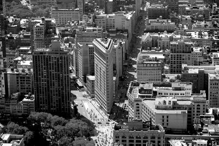 Black and White picture of the Flat Iron Building in NYC Stock Photo