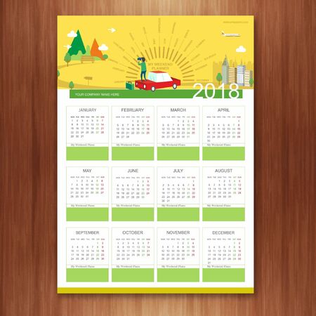 A3 Weekend Planner 2018 Vector illustration.