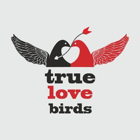 True Love Birds T Shirt Design Vector illustration.